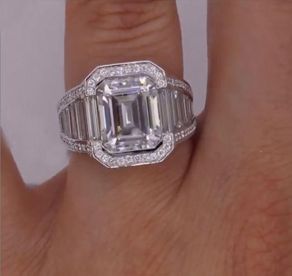 4.26 Ct Near White Emerald Moissanite Engagement Valentine Ring 10K White gold