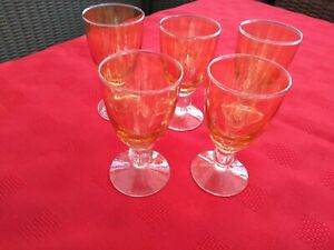 5Small-Vintage-Amber-Glasses-with-Clear-base-feel-its-a-old-Vintage-design-check