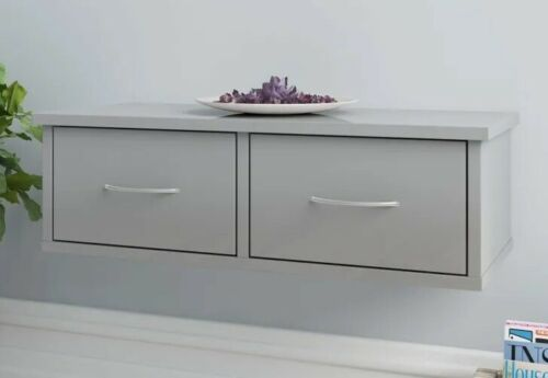 Wall Mounted Console Table Grey High Gloss Floating Shelf Drawer Cabinet Slim