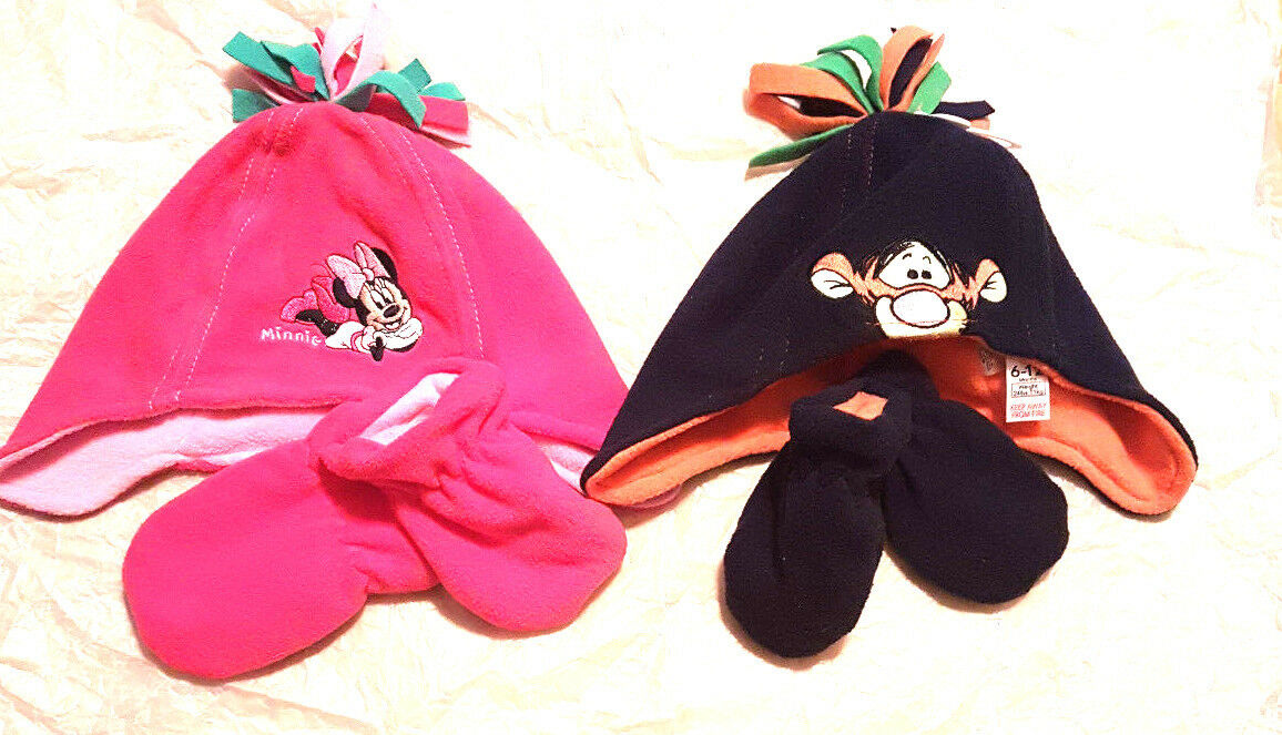 Disney Minnie Mouse Tigrou polaire chapeau et gants 6 12 18 mois et NEUF