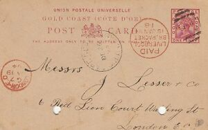 GOLD-COAST-1891-ONE-PENNY-postal-stationery-card-H-amp-G-A2-used-CAPE-COAST