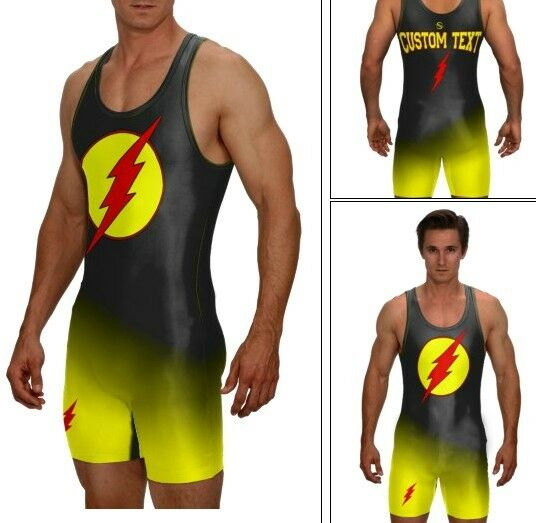 Lightening Flash wrestling singlet, includes your custom text, style 9