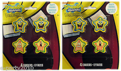 ~ Birthday Party Supplies Favors SPONGEBOB SQUAREPANTS STAR SHAPED ERASERS 8