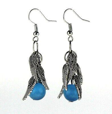 Tibetan Silver Plated Wings Colored Cat Eye Stone Beads Earrings Dangle Eardrop