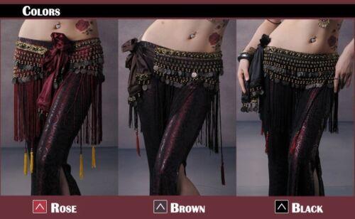 Belly Dance Classical Fringe Skirt Hip Scarf Coin Belt Tribal Style Waist belt