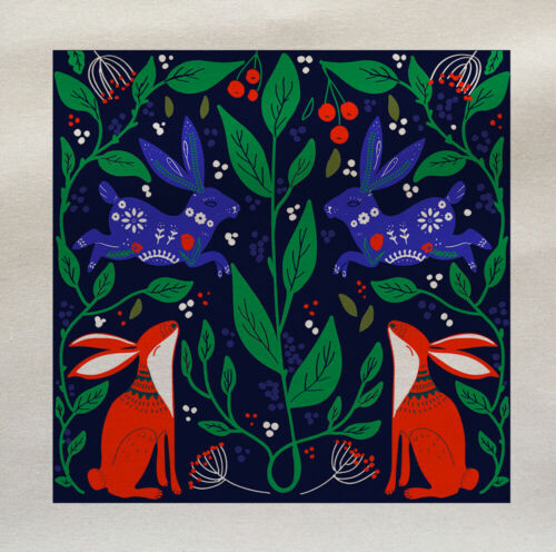 Hare Scandinavian Leaves Printed Fabric Panel Quilting Upholstery Craft