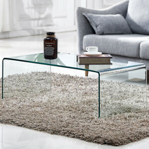 Modern Rectangular Waterfall Design Tempered Glass Coffee Table Ebay