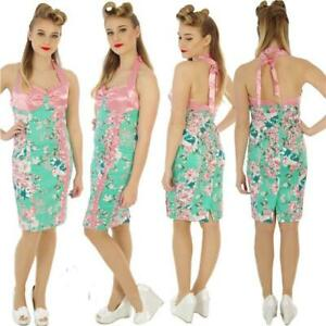 VOODOO-VIXEN-GREEN-PINK-WIGGLE-PENCIL-ROCKABILLY-VINTAGE-DRESS-SIZE-8