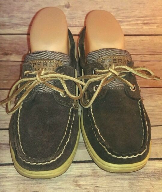 Brown Suede Leather Loafers Sperry Top Sider Women's 6.5M