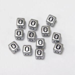 "6mm Silver Metallic Alphabet Beads Black Letter /""E/"" 100pc"