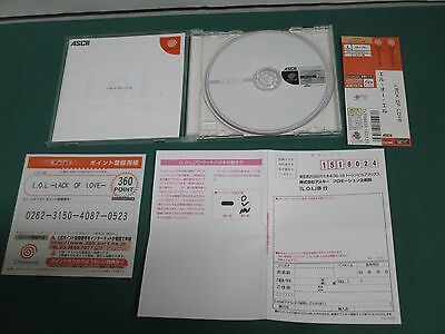 SEGA DreamCast --L.O.L. LACK OF LOVE-- JAPAN. GAME Clean & Work fully. 31532