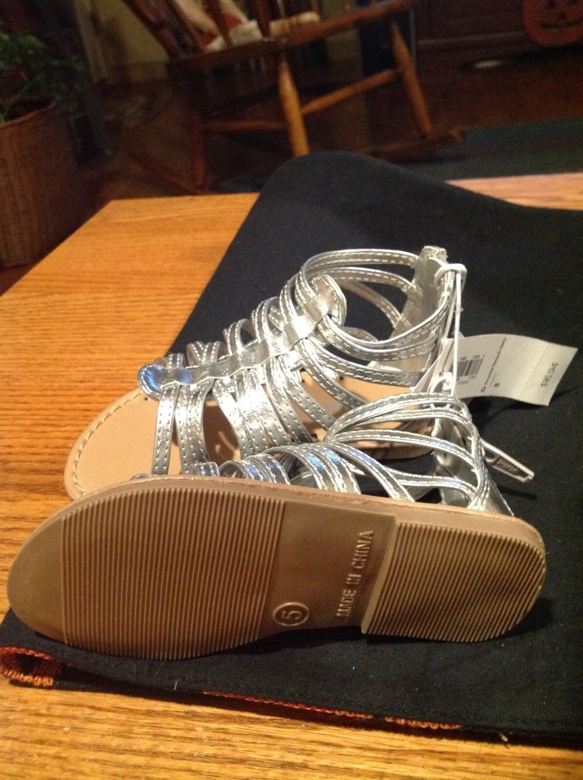 6b72bd57778 Girls Toddler Old Navy Silver Zip up Gladiator Sandals Size 5 for ...