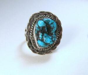 Old-Navajo-Sterling-Silver-Turquoise-Nugget-Ring-Signed-Cortez-H-Sz-7-5