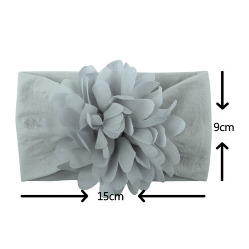 Baby Flower Wide Nylon Headband Head wraps Elastic Kids Turban Hair Accessories