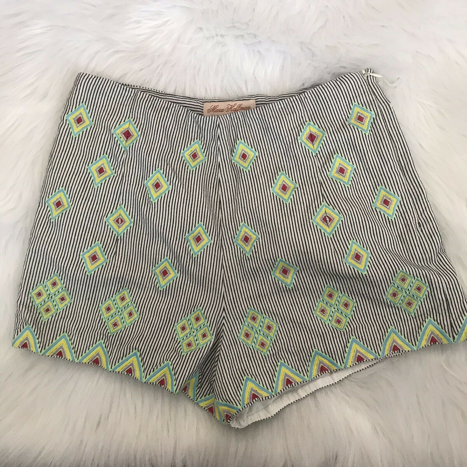 246 MARA HOFFMAN HIGH WAISTED PIN STRIPED GEOMETRIC RESORT SHORTS WOMENS SIZE 2