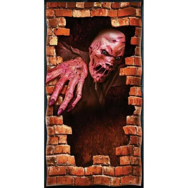 """65/"""" Tall Halloween Horror Decoration Door Gore Party Prop 33/"""" wide Plastic"""
