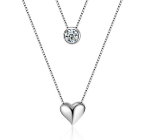925 Sterling Silver Double Chain Crystal Heart Pendant Necklace Women Jewelry