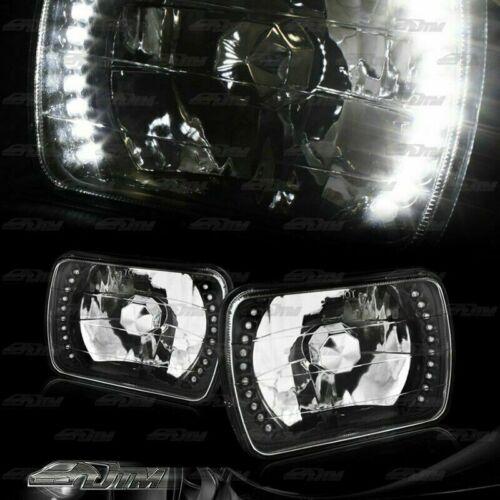 "Universal 7/""x6/"" H6054 Sealed Beam White LED Diamond Cut Black Housing Headlights"