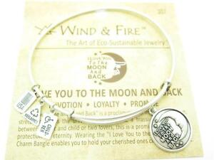 Wind-amp-Fire-I-Love-You-To-The-Moon-And-Back-Charm-Wire-Bangle-Stackable-Bracelet