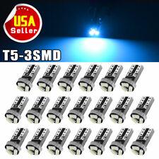 20x Ice Blue T5 Wedge 3SMD 3014 LED Gauge Cluster Light Interior Instrument Bulb