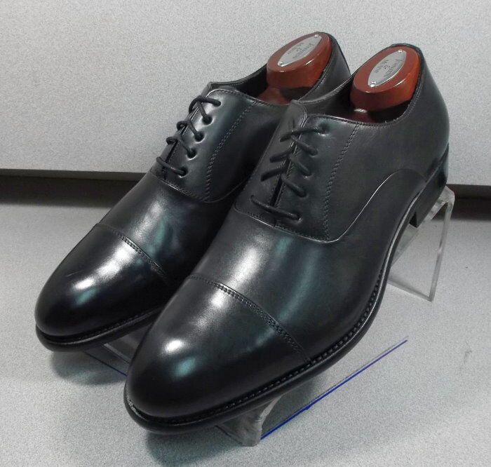 241435 MSi60 Chaussures Hommes Taille 10 m noir en cuir MADE IN ITALY Johnston Murphy