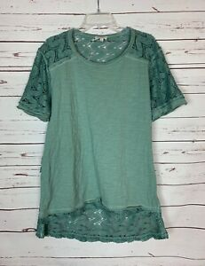 Umgee Boutique Women's S Small Blue Lace Short Sleeve Cute Fall Tunic Top Shirt
