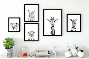 Animal Neutral Nursery Prints Wall Art