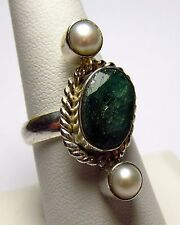 Beautiful Genuine Green Topaz & Pearl Silver Ring Size 8.5     TOPR23