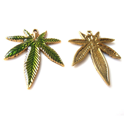 6pcs Green pot Leaf Weed Round leaf Green Drop Oil Charms Pendant for Necklace