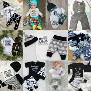 Infant-Newborn-Baby-Boys-Girl-Cartoon-Clothes-Tops-Romper-Pants-Hat-Outfits-Set