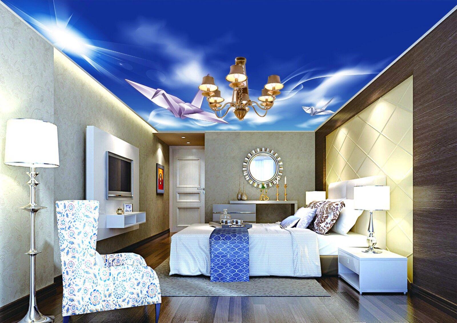 3D Paper Crane Sky 4 Ceiling Wall Paper Print Wall Indoor Wall Murals CA Jenny