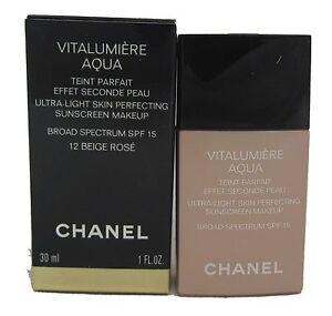 chanel vitalumiere aqua ultra light skin perfecting makeup 12 beige rose 1oz ebay. Black Bedroom Furniture Sets. Home Design Ideas