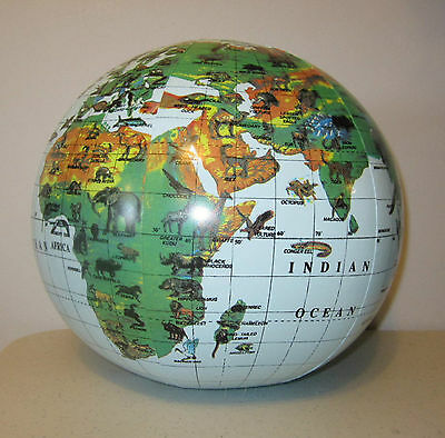 1 NEW INLATABLE ANIMAL PRINT WORLD GLOBE BEACH BALL INFLATE EARTH MAP TEACHER