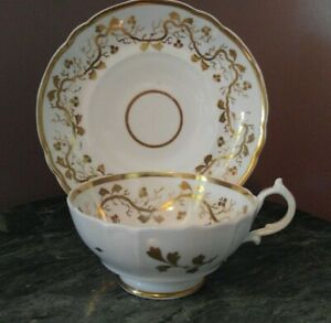 China-Tea-Cup-and-Saucer-Ivory-with-Gold-Vines-amp-Leaves-Unknown-Maker-GVC