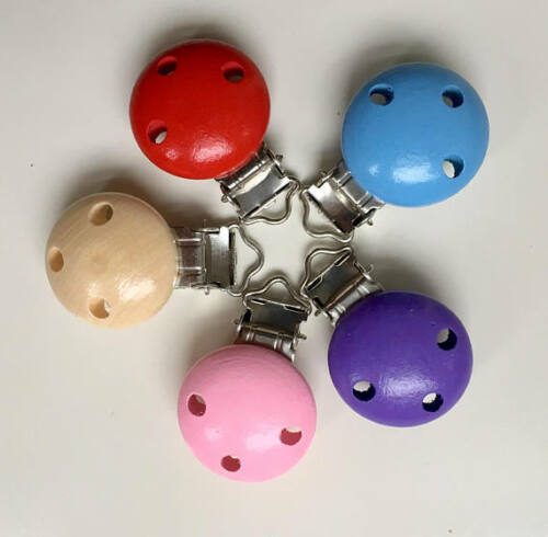 5x NEW Colorful Wooden pacifier Clips**soother clip* Pacifier clip