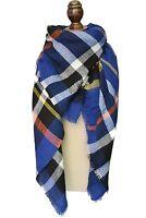 Fashion Womens Winter Soft Plaid Scarf, Large Blanket Wrap Shawl Wrap Blue