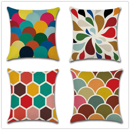 """Colorful Geometric Pattern Throw Pillow Case Cushion Cover 18/""""  Linen Inerratic"""