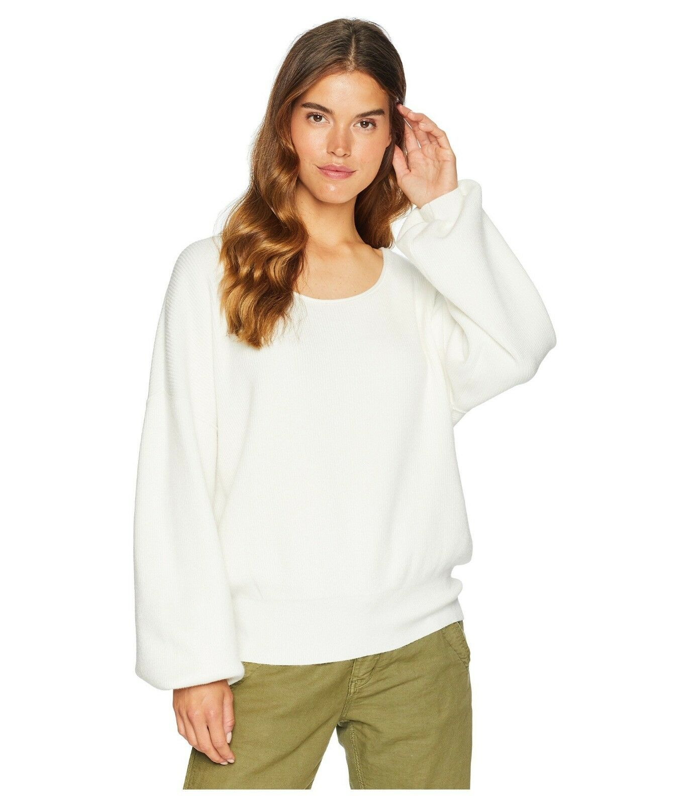 Free People Shadow Crew Sweater Ivory Large