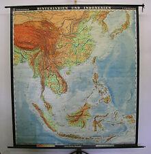 Schulwandkarte map Hinterindien und Indonesien, Vietnam Thailand 1963 193x214cm