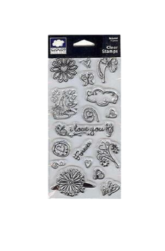 CLOUD 9 Fiskars Clear Stamps CHOCOLATE CHALET  FLOWERS