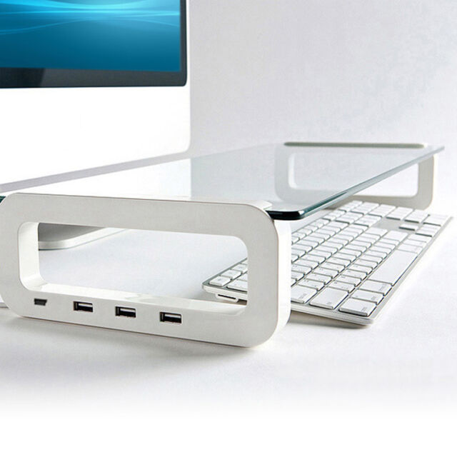Tempered Glass Monitor Laptop White Stand With 3 Port USB 2.0 Hub