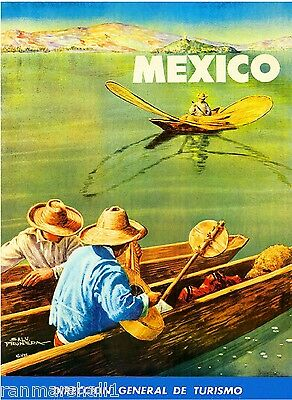 Mexico Mexican Fishermen Spanish Vintage Travel Advertisement Art Poster