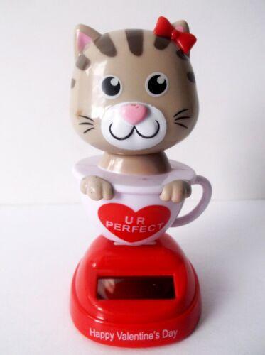 Solar Powered Dancing Bobble Head Cute Cat In A Rockin Tea Cup