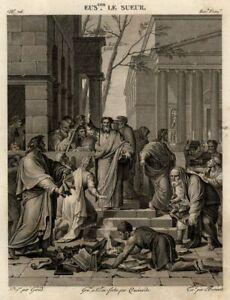 Eustache-le-Sueur-Saint-Paul-prechant-l-039-Evangile-a-Ephese-Gravure-originale