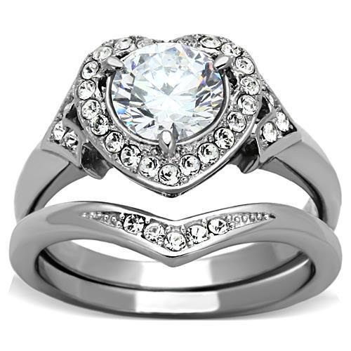 Acier Inoxydable Son Hers Coeur CZ Wedding Engagement Nuptiale 3 PC Ring Band Set