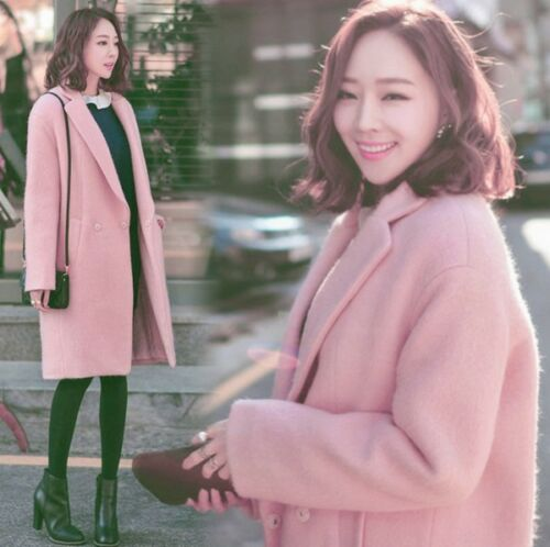 Fit Trench Long Coats Loose Jacket Lapel Outwear Overcoat Parka Woolen Women's pOqTgnw