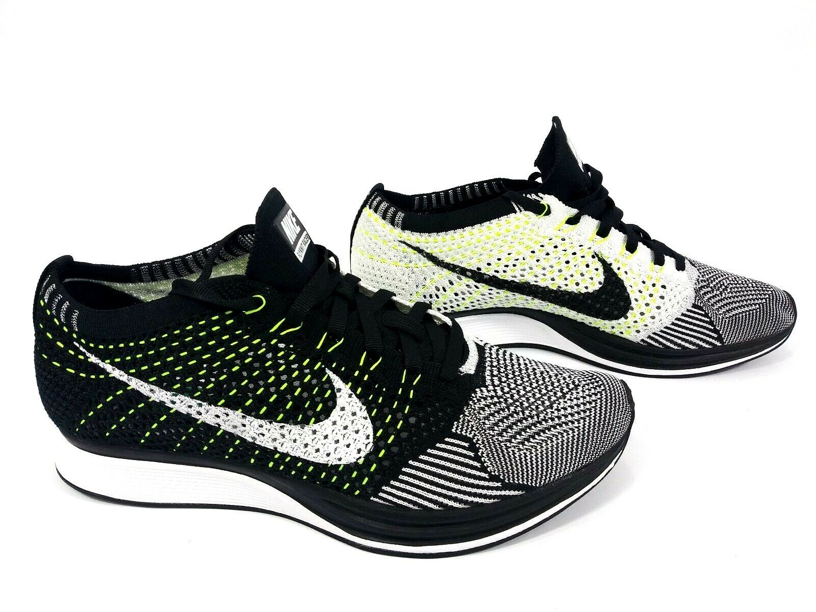 NEW Nike Flyknit Racer Black White-White 526628-011 Size Men's 13
