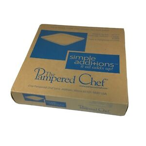 THE-PAMPERED-CHEF-MEDIUM-SQUARES-10-034-x-10-034-Approx-PLATES-Set-of-2-NEW-IN-BOX