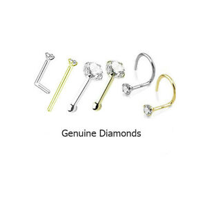 1 5mm Genuine Real Diamond Nose Ring Stud L Bend Screw Yellow Gold