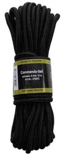 BW Kommando Seil Strick 15 m 9mm Multifunktionsseil Outdoor schwarz Paracord !